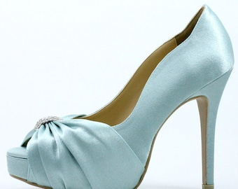 Something Blue Wedding Shoes With Rhinestones Powder Diamante Light