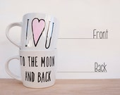 I Love You to the Moon and Back // Handpainted Coffee Mug // Love Quote // Valentine's Gift for Couple - AvonnieStudio