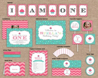 Girl First Birthday Cupcake Package, Valentine's Day, Chevron & Polka Dot, CUSTOM, DIY Printable