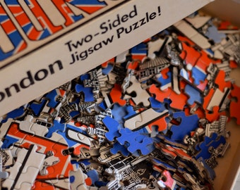 Vintage 1970s LONDON Union Jack Two-Sided Jigsaw Puzzle