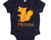 Personalized Boys or Girls FOX Animal Newborn Birthday Baby Infant T shirt Lots of Colors - Birthday Party Baby Shower