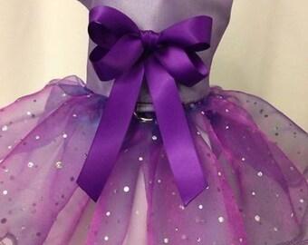 Special Occasion Purple dog dress, Harness, tutu  Pet Apparel, Wedding, Flower girl, Pageant