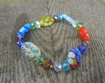 Beautiful Multicolored Millefiori Stretch  boho bracelet