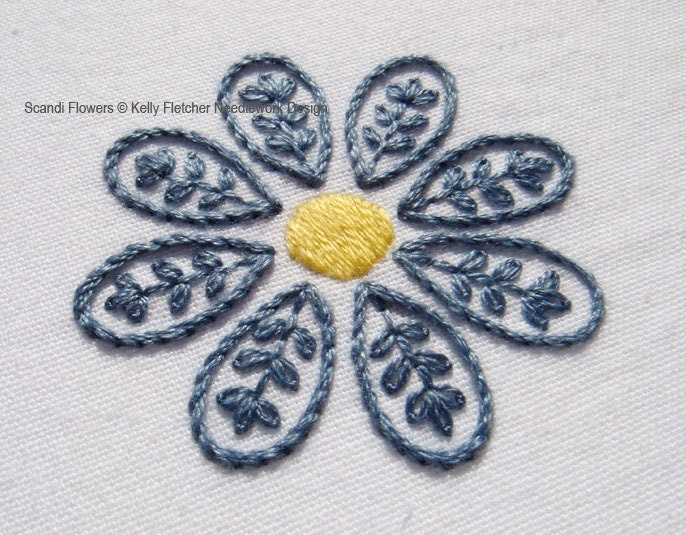 Flower Hand Embroidery Designs Free Download: Scandi Flowers Modern Scandinavian Hand Embroidery Pattern