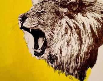 "Yellow Lion original drawing 11"" x 14"""