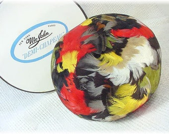 1960s Jackie O Style - Mr John  All Over Pheasant Feather Pillbox Hat Illusion Netting & Original Box - Red Yellow Green Black FREE SHIPPING