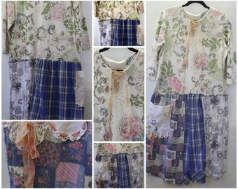 Upcycled Dress Cottage Chic Boho Vintage Romantic Dress, Ribbon Trim Size Large Patchwork Shirt, Funky Tunic Artsy Dress, Eco Friendly Dress