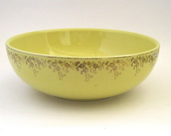 Hall China Yellow Salad Bowl - Gold: Label Line