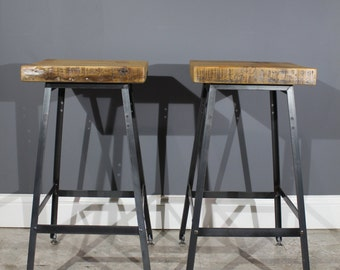 Pair of Rustic Bar Stools - Made from Reclaimed Barn Wood W/ an Endurovar Finish