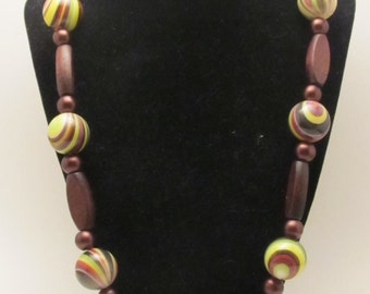 Wood & Arcylic Necklace ***Earth Tones***