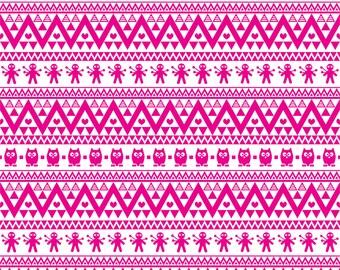Magenta owl tribal pattern craft  vinyl sheet - HTV or Adhesive Vinyl -  Aztec Peruvian pattern HTV320