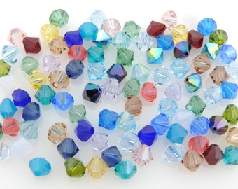 SWAROVSKI® Crystal 6mm Bicone Beads,Color Assortment, Article #5301 Assorted Colors, FORTY-SIX(46)6mm Bicone Crystal Beads