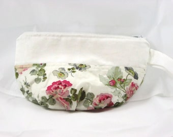 Zippered cosmetic pouch; zippered cosmetic bag