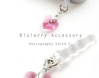 Pink Dangle Heart Swarovski Element Cyrstal Anti Dust Plug Cover Stopper for iPhone Samsung HTC Smartphone Accessory
