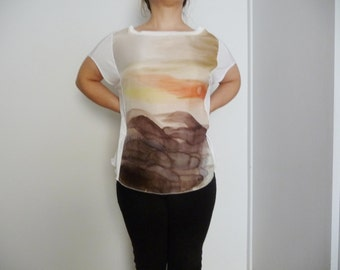 Silk blouse /Sunset and Rocks/ Silk shirt / blouse silk top/Orange/Gold / hand painted on silk / loose fitting /special  blouse /women tops