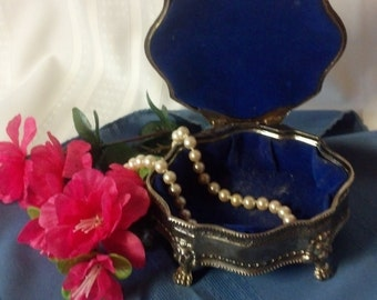 Vintage silver plate jewelry box.