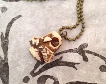 Owl totem pole polymer clay charm