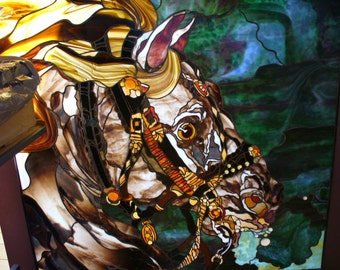 Massive Stained Glass Horse Head