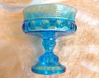 Vintage King's Crown Thumbprint Blue Glass Pedestal Candy Dish Compote or Jewelry Keeper - Excellent Condition