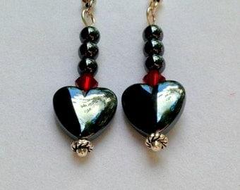Heart Earrings, Heart Beads, Metallic Earrings, Red Swarovski Crystal Earrings, Valentine Earrings