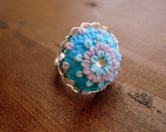 Polymer Clay Jewelry Filigree Embroidery Flower Adjustable Ring Handmade