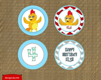 Printable Chica Birthday Cupcake Toppers - The Chica Show Birthday Party Cupcake Toppers - Kids Birthday