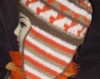 Aztec inspired ear flap hat
