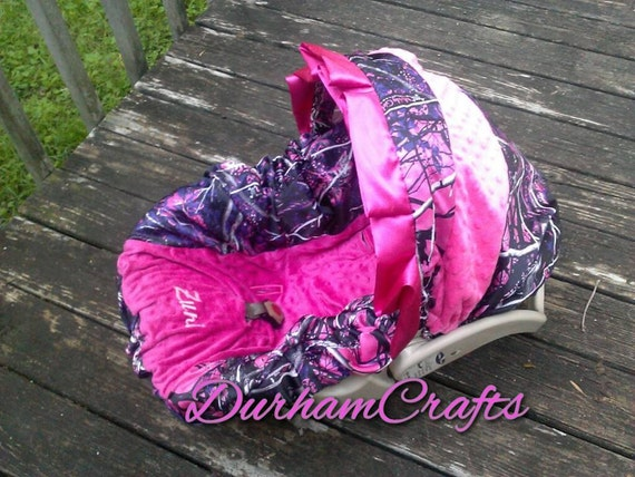 muddy girl camo and pink or purple car seat slip by durhamcrafts