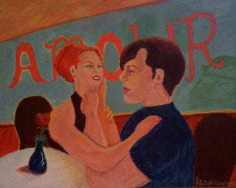 Acrylic Romance Painting Of Couple In Diner 15 X 20