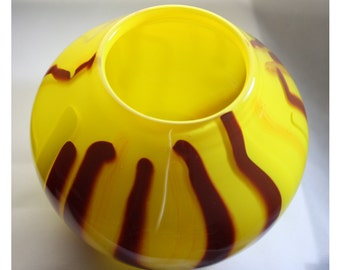 Yellow Glass Bowl, Hand Blown Yellow Bowl with Red and Yellow Cane Stripes, Opaque Closed Yellow Bowl - Free Shipping