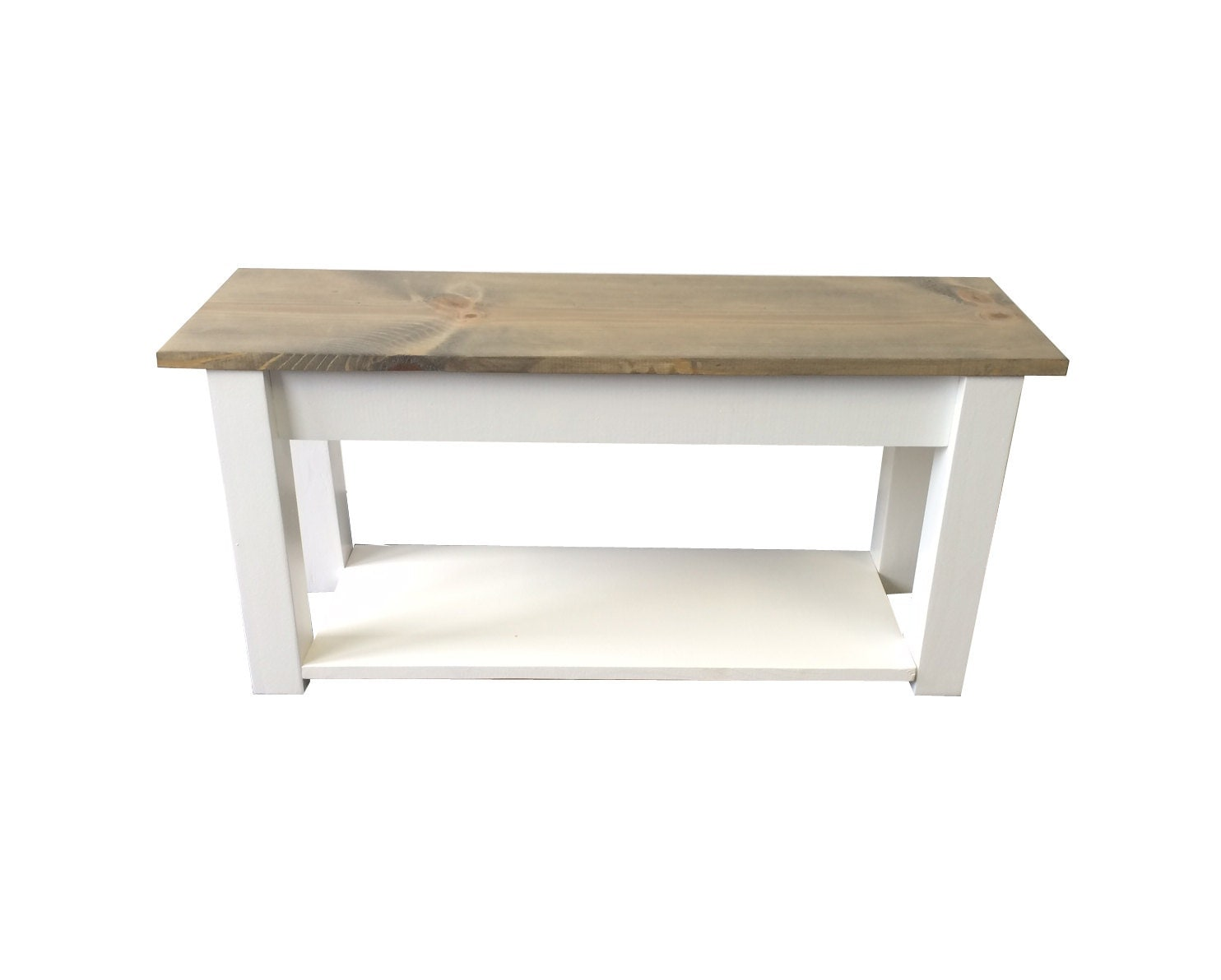 Farmhouse Bench Cottage Bench With Shelf