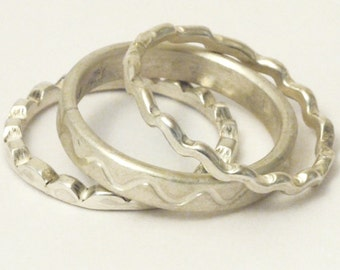 Collect rings solid silver three waves