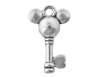 Set of 10 Silver Mickey Mouse Key Charms
