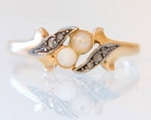 Antique Belle Epoque Edwardian 18K Gold Pearl and Diamond Ring