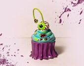 Mini Zombie Halloween Cupcakes with an Eyeball Cherry on Top