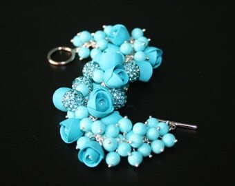 SALE 30% Polymer clay jewelry. Handmade polymer clay flower bracelet.