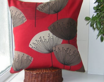 Retro Sandersons 'Dandelion Clocks' Cushion Cover Red