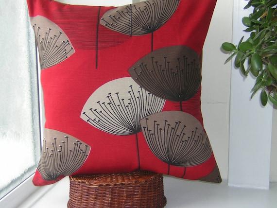 Retro Sandersons 'Dandelion Clocks' Cushion Cover Red