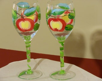 Pair of Hand Painted Long Stem Wine Glasses