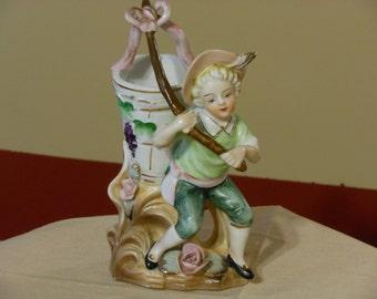 Figurine Planter of a Boy with a Grape Basket