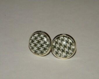 Black and White houndstooth 12mm bezel earrings