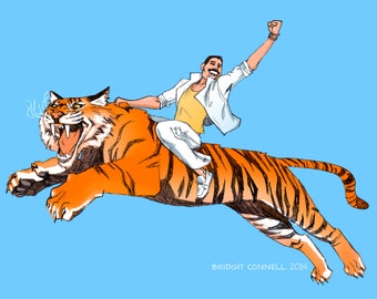 Freddie Mercury (on a Tiger, Defying the Laws of Gravity)