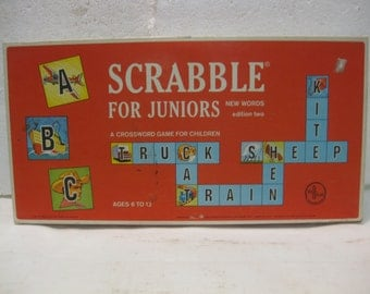 1964 Selchow & Righter Scrabble For Juniors Board Game Edition Two A Crossword Game For Children gm448