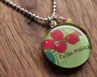 Starbucks Coffee Bean Necklace in sterling silver, resin and diamond cut sterling silver chain. Made from recycled, upcycled  gift cards.