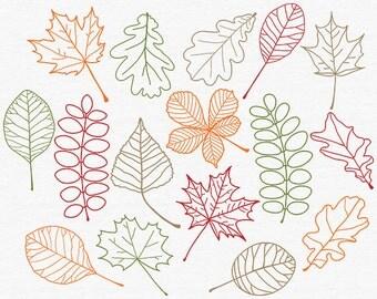 Digital Fall Leaves Clipart, Leaf Doodle, Orange Autumn Leaves Illustration, Hand Drawn Leaf Clip Art, Red Maple Leaf, Thanksgiving, October