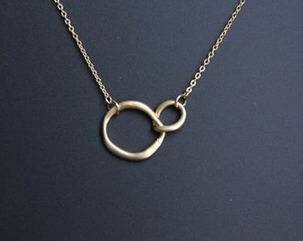 Eternity Love Double Circle Pendant Necklace, Gold Eternity Necklace, Everyday Jewelry, Wedding Jewelry, Bridemaids gifts, JEW000214