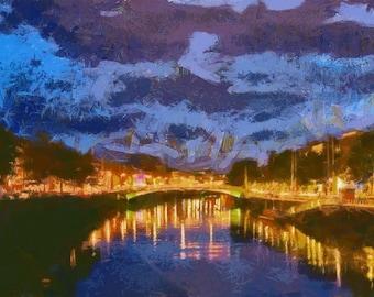Dublin on the Liffey - panorama canvas print