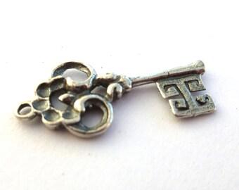 """Silver Key Charm, Sterling Silver Key Charm Pendant, Skeleton Key 15/16""""  CA800Q"""