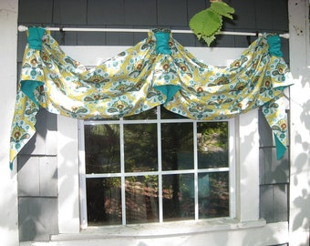 Valance Victory Tab Swag Window Treatment in Amy Butler French Mustard Fabric with Aqua Lining Rod floral kitchen bedroom scrunch kingston