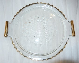 GLASS TRAY PLATE with Handles